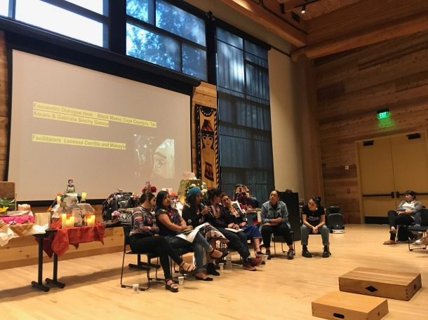 Photo by Estey Chen; Lanessa Cerrillo and Makayla facilitating Encuentro dialogue with Black Mama, Caye Cayejera, Taki Amaru, Gabriela Sinchy Gomez; Feminista Futurisms: Afro-Indigenous Muxeres in Hip Hop; Intellectual House, Seattle, USA; 6/3/2019; Encuentro Dialogue